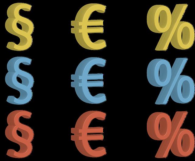 paragraf, euro a procenta